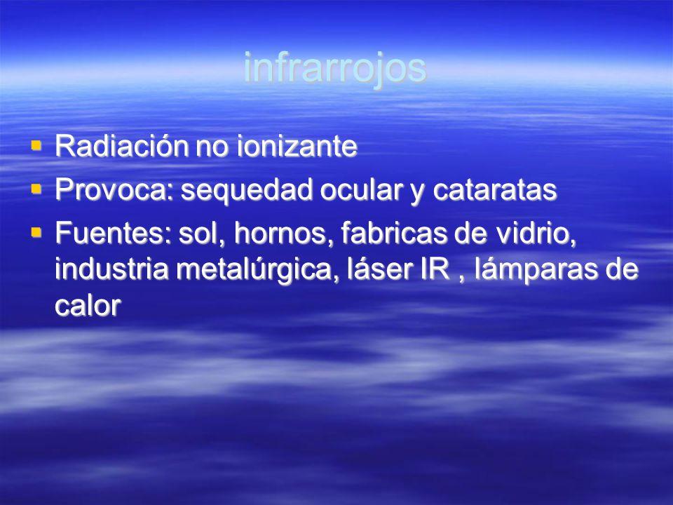 infrarrojos Radiación no ionizante Radiación no ionizante Provoca: sequedad ocular y cataratas Provoca: sequedad ocular y cataratas Fuentes: sol, horn