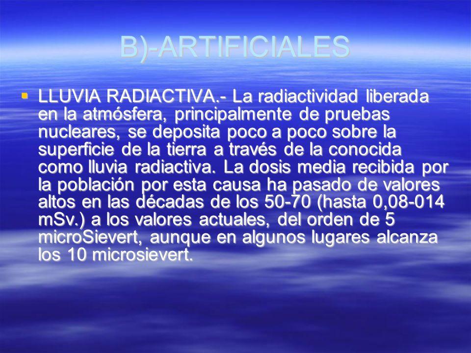 B)-ARTIFICIALES LLUVIA RADIACTIVA.- La radiactividad liberada en la atmósfera, principalmente de pruebas nucleares, se deposita poco a poco sobre la s