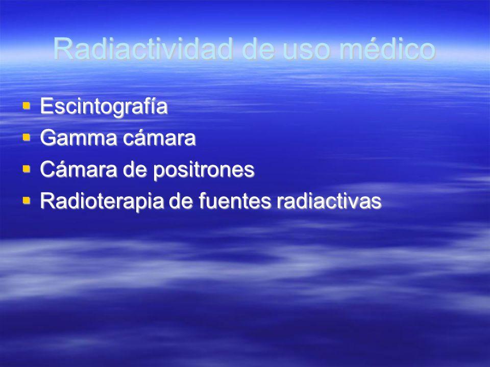 Radiactividad de uso médico Escintografía Escintografía Gamma cámara Gamma cámara Cámara de positrones Cámara de positrones Radioterapia de fuentes ra