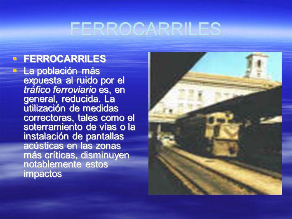 FERROCARRILES FERROCARRILES FERROCARRILES La población más expuesta al ruido por el tráfico ferroviario es, en general, reducida. La utilización de me