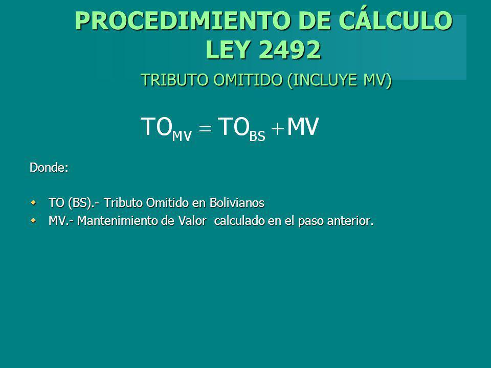 PROCEDIMIENTO DE CÁLCULO LEY 2492 TRIBUTO OMITIDO (INCLUYE MV) Donde: TO (BS).- Tributo Omitido en Bolivianos TO (BS).- Tributo Omitido en Bolivianos