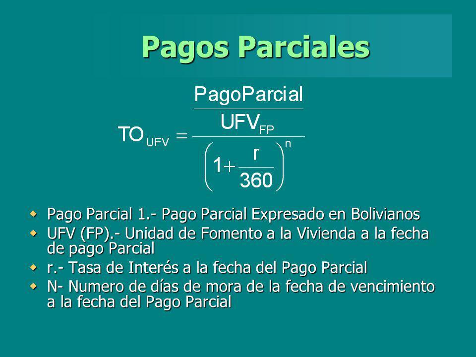 Pagos Parciales Pago Parcial 1.- Pago Parcial Expresado en Bolivianos Pago Parcial 1.- Pago Parcial Expresado en Bolivianos UFV (FP).- Unidad de Fomen