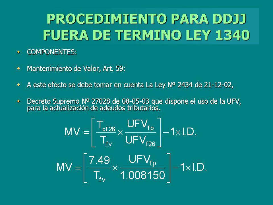 PROCEDIMIENTO PARA DDJJ FUERA DE TERMINO LEY 1340 COMPONENTES: COMPONENTES: Mantenimiento de Valor, Art. 59: Mantenimiento de Valor, Art. 59: A este e