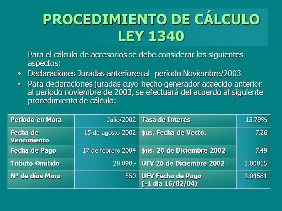 PROCEDIMIENTO DE CÁLCULO LEY 1340 Para el cálculo de accesorios se debe considerar los siguientes aspectos: Declaraciones Juradas anteriores al period