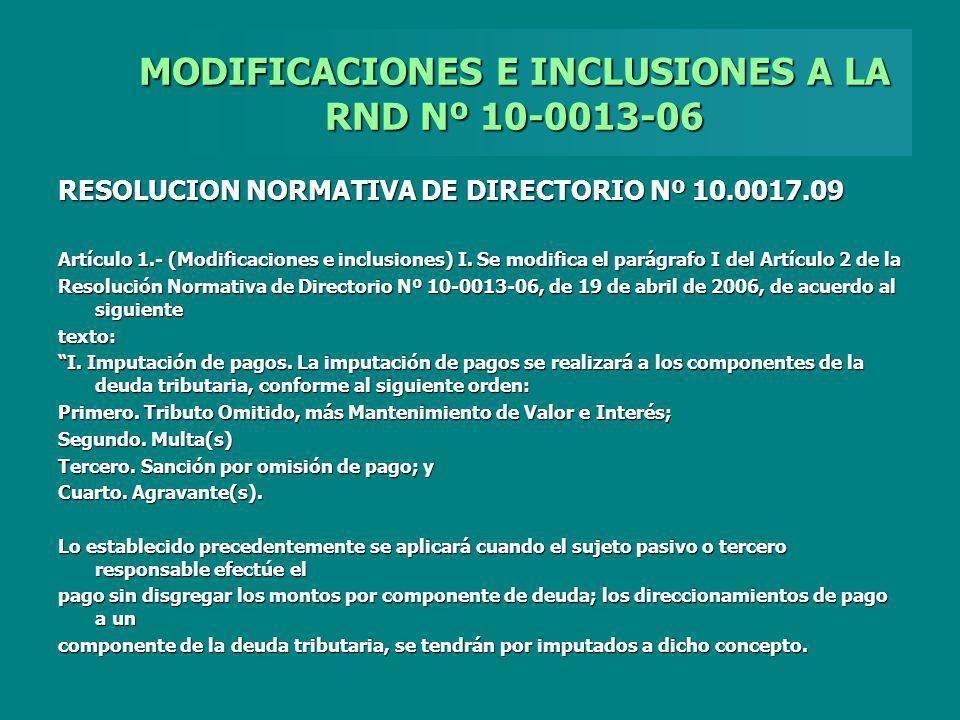 MODIFICACIONES E INCLUSIONES A LA RND Nº 10-0013-06 RESOLUCION NORMATIVA DE DIRECTORIO Nº 10.0017.09 Artículo 1.- (Modificaciones e inclusiones) I. Se