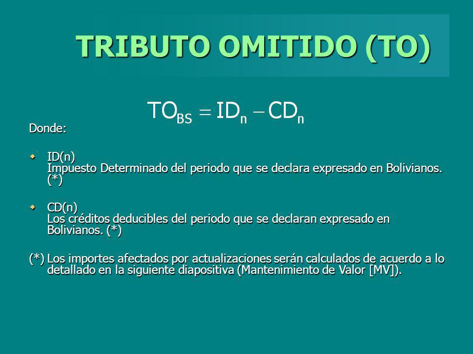 TRIBUTO OMITIDO (TO) Donde: ID(n) Impuesto Determinado del periodo que se declara expresado en Bolivianos. (*) ID(n) Impuesto Determinado del periodo