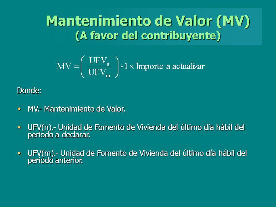 Mantenimiento de Valor (MV) (A favor del contribuyente) Donde: MV.- Mantenimiento de Valor. MV.- Mantenimiento de Valor. UFV(n).- Unidad de Fomento de