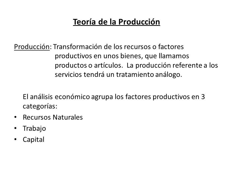 Teoría de la Producción Producción: Transformación de los recursos o factores productivos en unos bienes, que llamamos productos o artículos. La produ