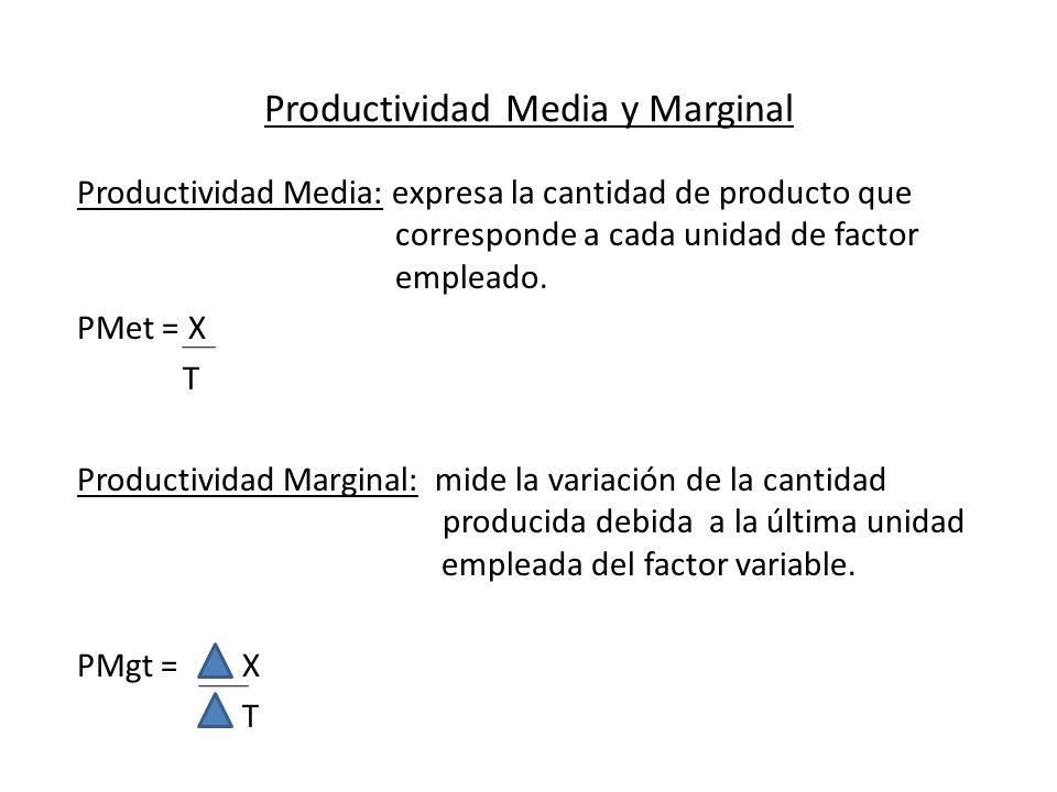 Productividad Media y Marginal Productividad Media: expresa la cantidad de producto que corresponde a cada unidad de factor empleado. PMet = X T Produ