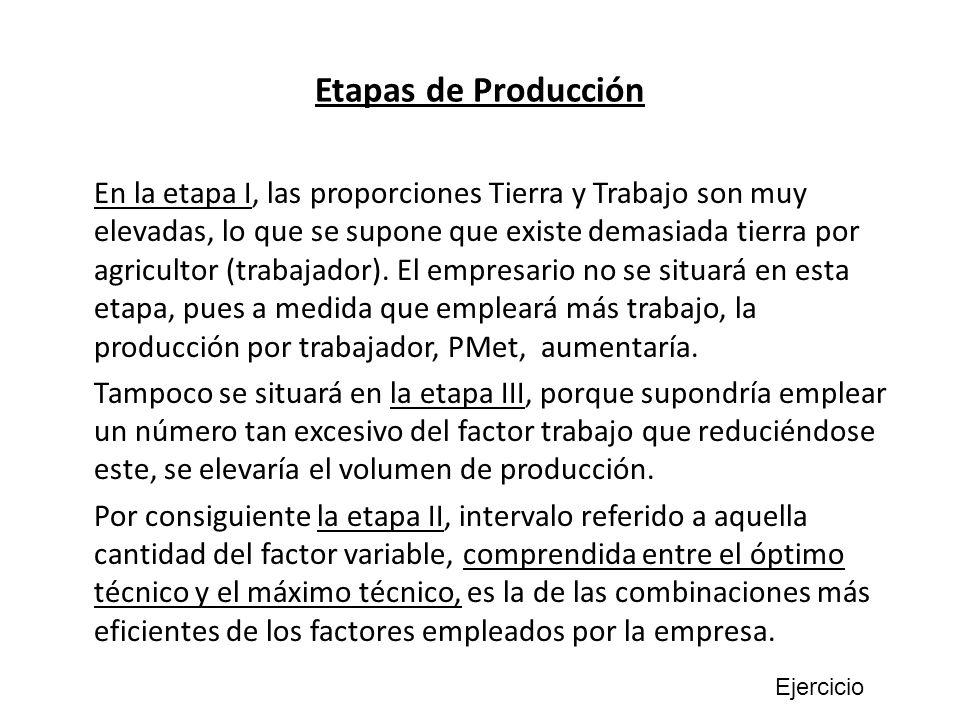 Etapas de Producción En la etapa I, las proporciones Tierra y Trabajo son muy elevadas, lo que se supone que existe demasiada tierra por agricultor (t