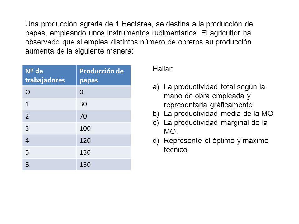 Una producción agraria de 1 Hectárea, se destina a la producción de papas, empleando unos instrumentos rudimentarios. El agricultor ha observado que s