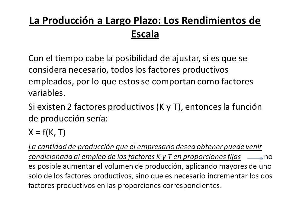 La Producción a Largo Plazo: Los Rendimientos de Escala Con el tiempo cabe la posibilidad de ajustar, si es que se considera necesario, todos los fact