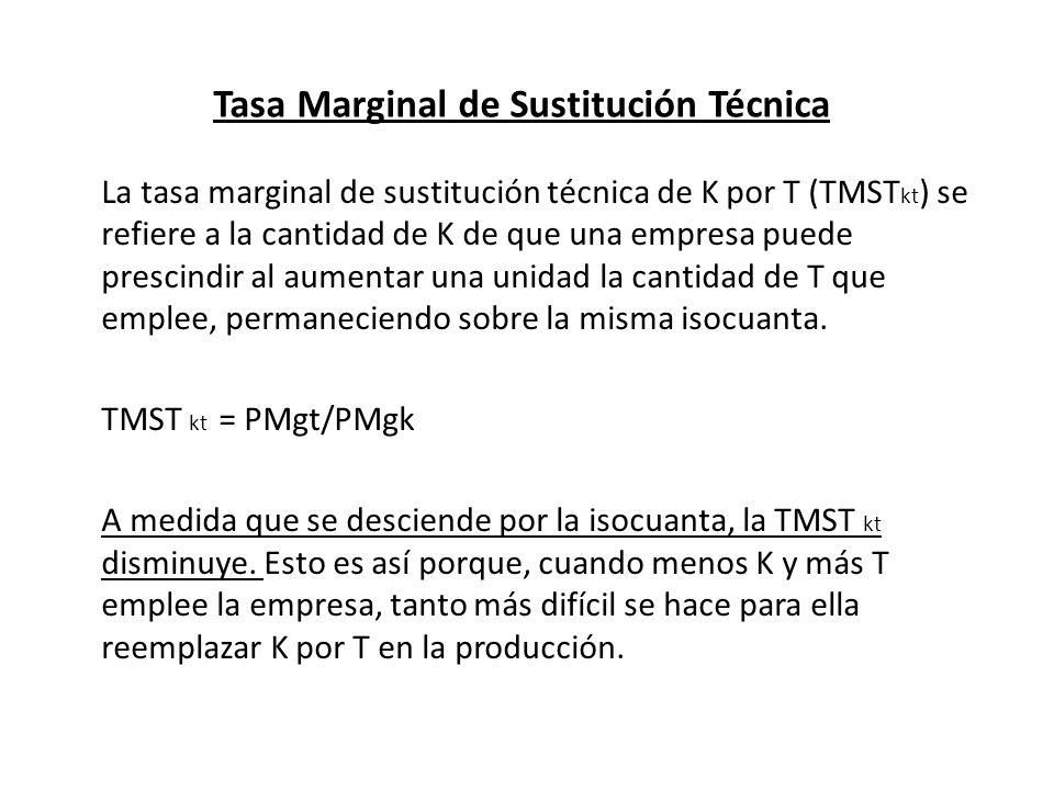 Tasa Marginal de Sustitución Técnica La tasa marginal de sustitución técnica de K por T (TMST kt ) se refiere a la cantidad de K de que una empresa pu
