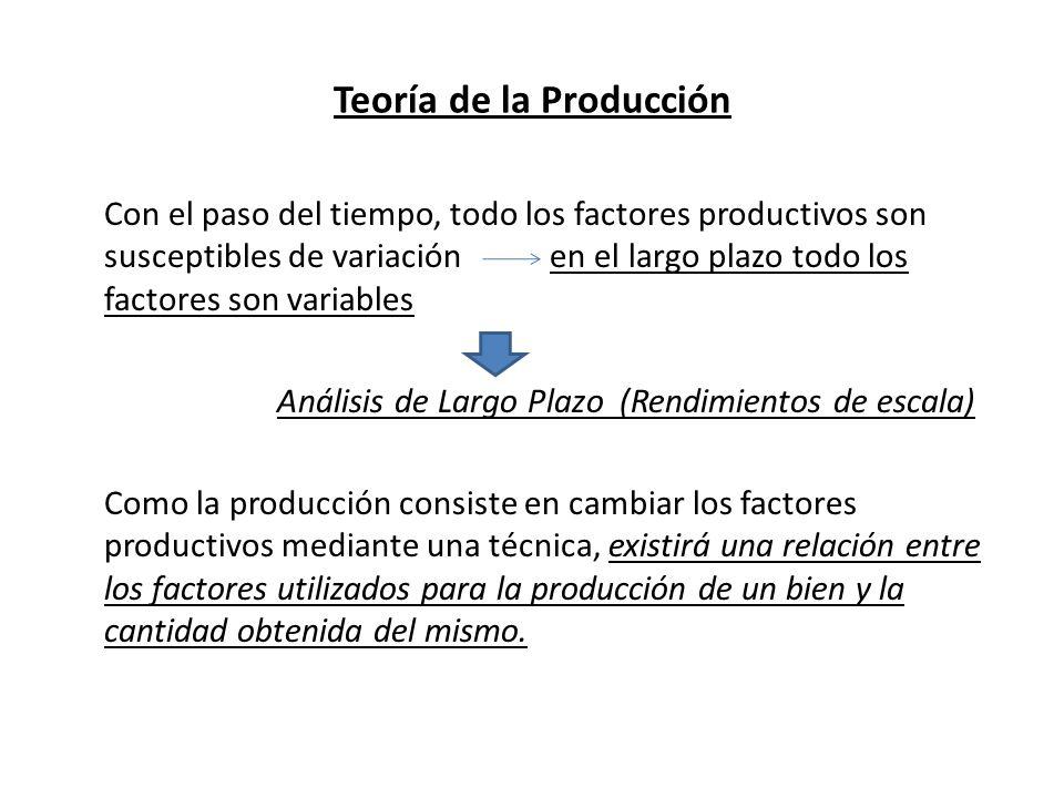 Teoría de la Producción El volumen de producción dependerá de la tecnología aplicada, de modo que: Una tecnología de punta logrará una mayor cantidad de producto, dada unas cantidades de factores, que una tecnología atrasada.