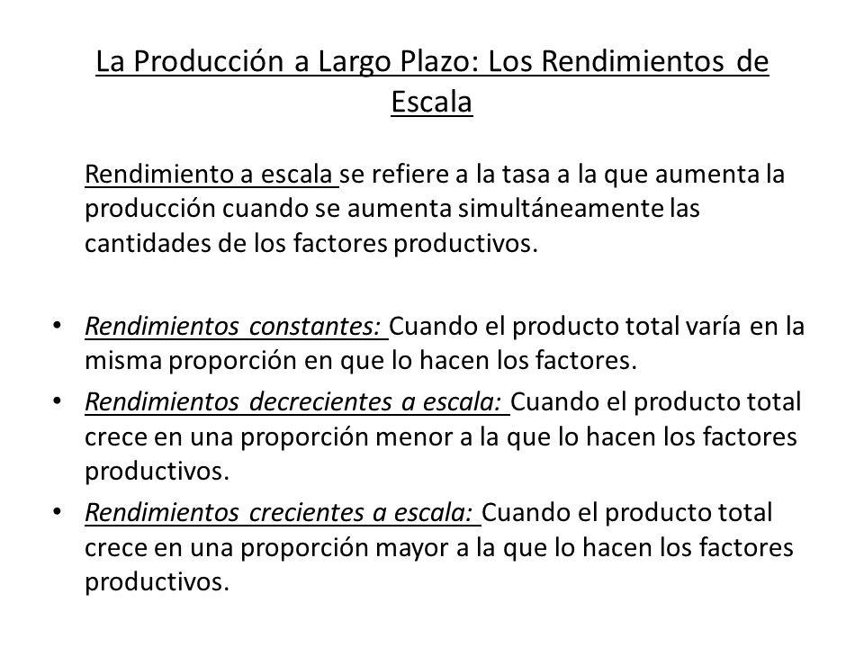 La Producción a Largo Plazo: Los Rendimientos de Escala Rendimiento a escala se refiere a la tasa a la que aumenta la producción cuando se aumenta sim
