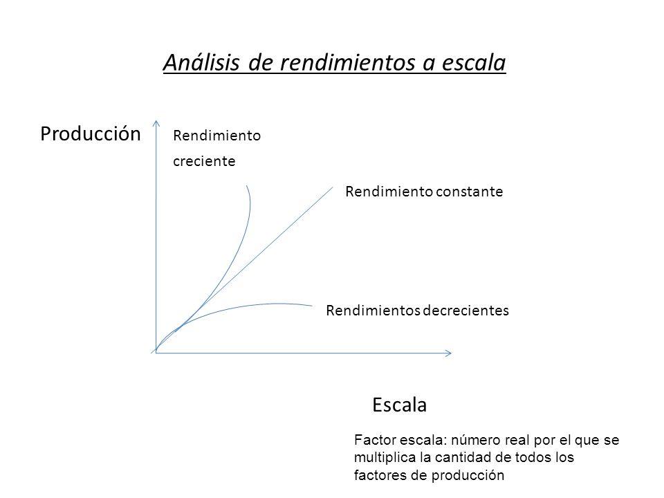 Análisis de rendimientos a escala Producción Rendimiento creciente Rendimiento constante Rendimientos decrecientes Escala Factor escala: número real p