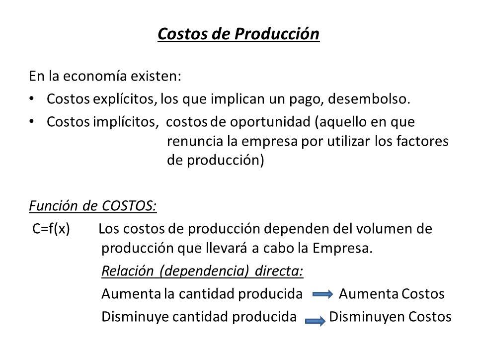 Costos de Producción En la economía existen: Costos explícitos, los que implican un pago, desembolso. Costos implícitos, costos de oportunidad (aquell