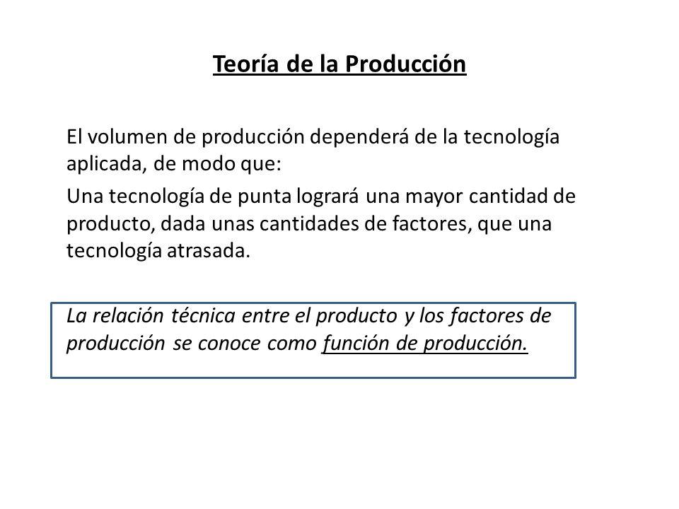 Teoría de la Producción Dado un estado de conocimiento técnico, es decir, suponiendo que durante un determinado tiempo la técnica aplicada en el proceso productivo no se modifica, la función de producción indica: Las mayores cantidades de producto que pueden obtenerse con las diferentes combinaciones de los factores productivos utilizados, en el tiempo que se haya considerado.