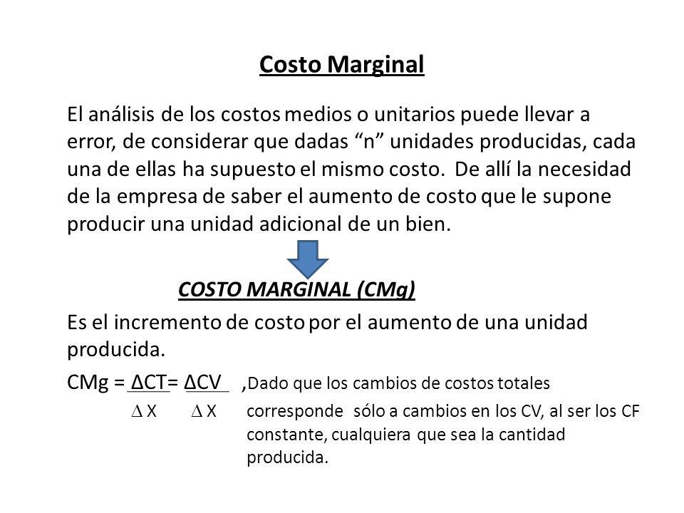 Costo Marginal El análisis de los costos medios o unitarios puede llevar a error, de considerar que dadas n unidades producidas, cada una de ellas ha