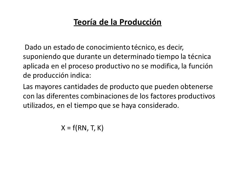 Teoría de la Producción (Eficiencia Técnica/Eficiencia Económica) Hasta ahora el concepto de función de producción se expresa como una relación física o técnica del producto y de los factores productivos, sin que aparezcan el precios del bien producido y el precio de los factores, por lo que la eficiencia es solo de carácter técnico.