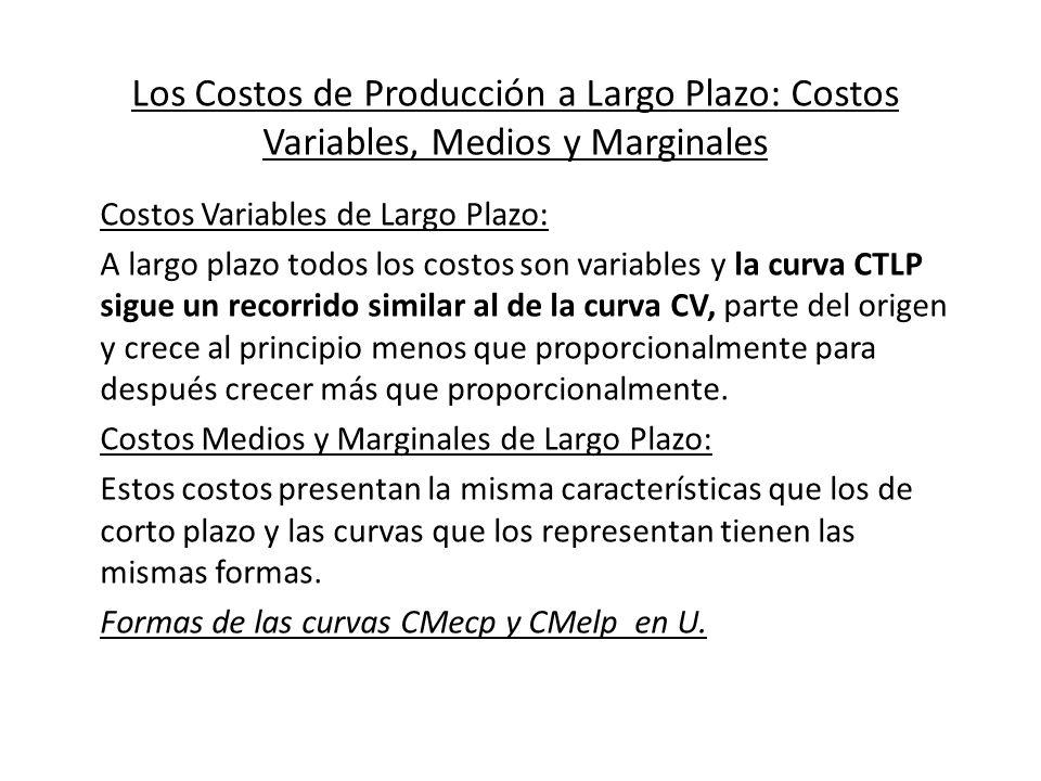 Los Costos de Producción a Largo Plazo: Costos Variables, Medios y Marginales Costos Variables de Largo Plazo: A largo plazo todos los costos son vari