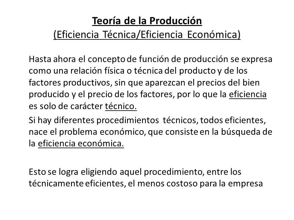 Teoría de la Producción Ejemplo: Eficiencia técnica y eficiencia económica Para obtener 100 unidades del bien x, x=100, la empresa puede seguir 3 procedimientos que la técnica le ofrece.