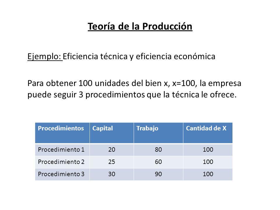 Teoría de la Producción Ejemplo: Eficiencia técnica y eficiencia económica Para obtener 100 unidades del bien x, x=100, la empresa puede seguir 3 proc
