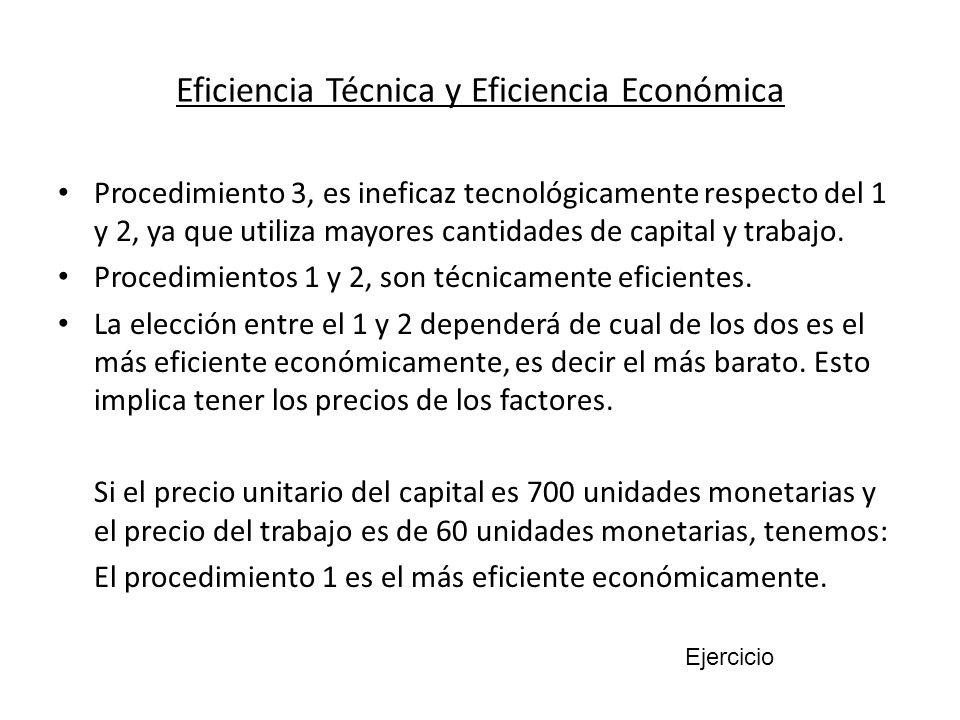 Eficiencia Técnica y Eficiencia Económica Procedimiento 3, es ineficaz tecnológicamente respecto del 1 y 2, ya que utiliza mayores cantidades de capit