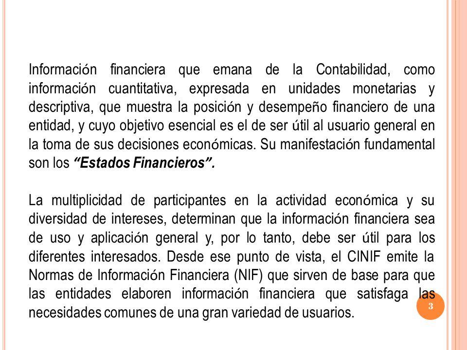 Serie NIF B Normas aplicables a los estados financieros en su conjunto NIF/Boletín Cambios contables y correcciones de errores NIF B-1 Estado de flujos de efectivo NIF B-2 Estado de resultados NIF B-3 Estado de resultado integral (2013) NIF B-3 Estado de cambios en el capital contable (2013) NIF B-4 Información financiera por segmentos B-5 Información financiera por segmentos (en vigor en enero 2011) NIF B-5 Adquisición de negocios NIF B-7 Estados financieros consolidados y combinados NIF B-8 Información financiera a fechas intermedias (enero de 2011) NIF B-9 Efectos de la inflación NIF B-10 Hechos posteriores a la fecha de los estados financieros NIF B-13 Utilidad por acción B-14 Conversión de monedas extranjeras NIF B-15 Estados financieros de entidades con propósitos no lucrativos NIF B-16 34