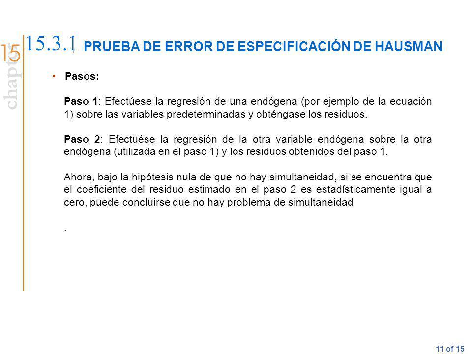 chapter 11 of 15 PRUEBA DE ERROR DE ESPECIFICACIÓN DE HAUSMAN 15.3.1 Pasos: Paso 1: Efectúese la regresión de una endógena (por ejemplo de la ecuación