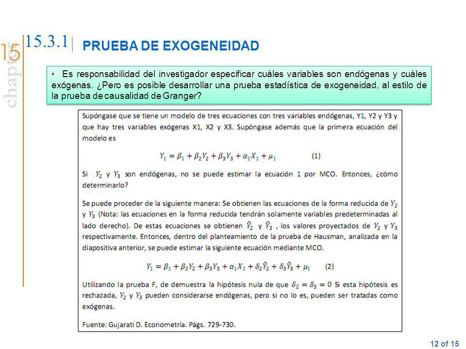 chapter 12 of 15 PRUEBA DE EXOGENEIDAD 15.3.1 Es responsabilidad del investigador especificar cuáles variables son endógenas y cuáles exógenas. ¿Pero