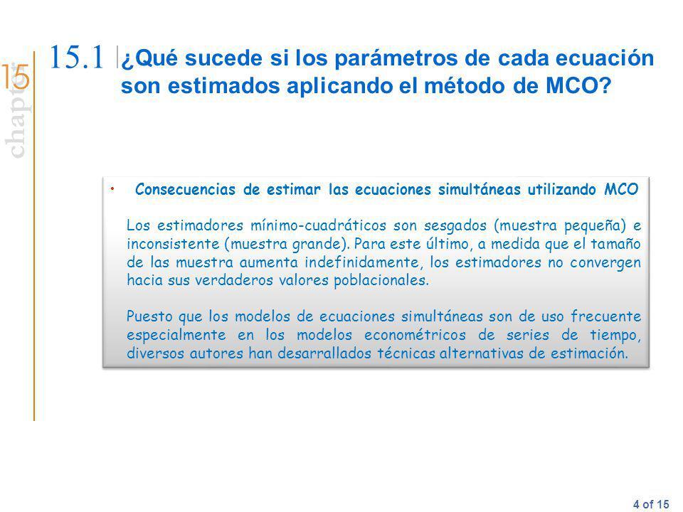chapter 4 of 15 ¿Qué sucede si los parámetros de cada ecuación son estimados aplicando el método de MCO? 15.1 Consecuencias de estimar las ecuaciones