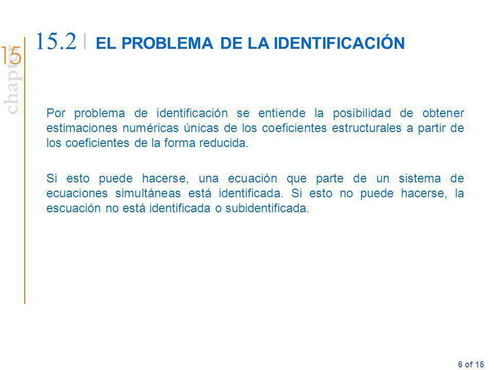 chapter 6 of 15 EL PROBLEMA DE LA IDENTIFICACIÓN 15.2 Por problema de identificación se entiende la posibilidad de obtener estimaciones numéricas únic