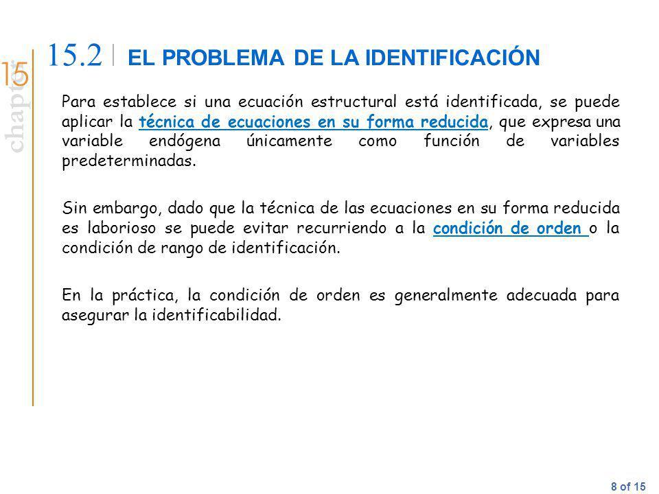chapter 8 of 15 EL PROBLEMA DE LA IDENTIFICACIÓN 15.2 Para establece si una ecuación estructural está identificada, se puede aplicar la técnica de ecu