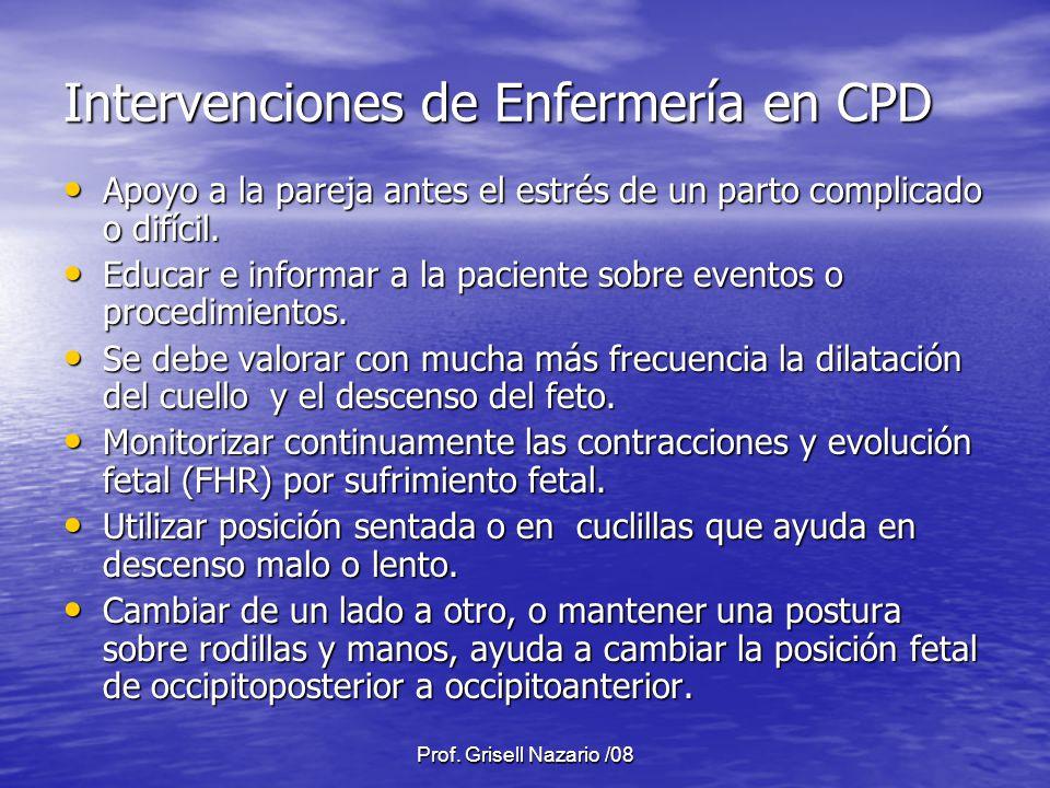 Prof. Grisell Nazario /08 Intervenciones de Enfermería en CPD Apoyo a la pareja antes el estrés de un parto complicado o difícil. Apoyo a la pareja an