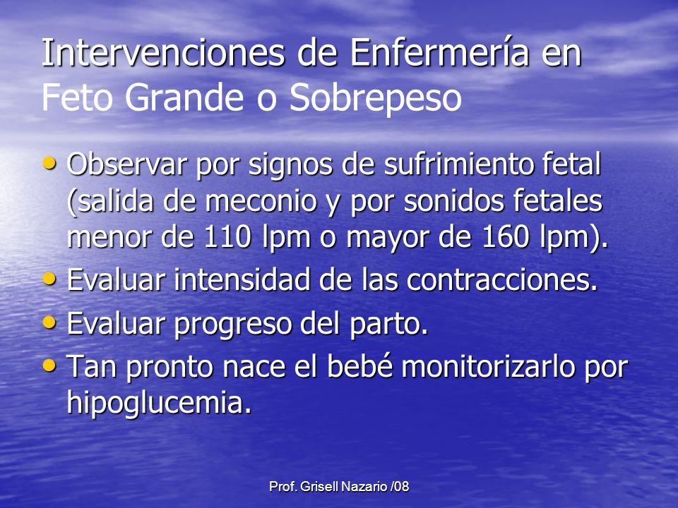 Prof. Grisell Nazario /08 Intervenciones de Enfermería en Intervenciones de Enfermería en Feto Grande o Sobrepeso Observar por signos de sufrimiento f