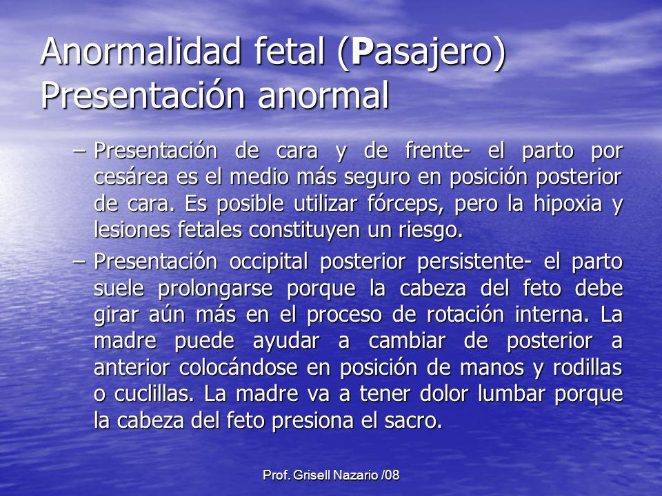 Prof. Grisell Nazario /08 Anormalidad fetal (Pasajero) Presentación anormal –Presentación de cara y de frente- el parto por cesárea es el medio más se