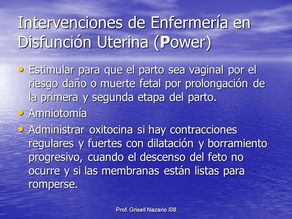 Prof. Grisell Nazario /08 Intervenciones de Enfermería en Disfunción Uterina (Power) Estimular para que el parto sea vaginal por el riesgo daño o muer