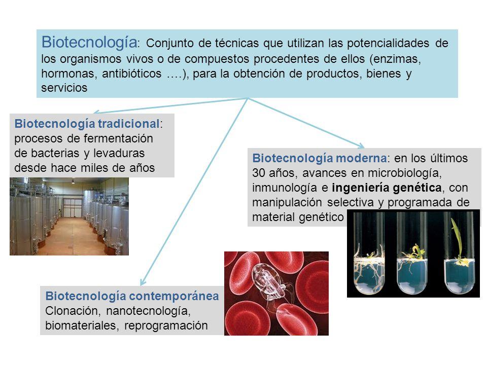 Biotecnología : Conjunto de técnicas que utilizan las potencialidades de los organismos vivos o de compuestos procedentes de ellos (enzimas, hormonas,