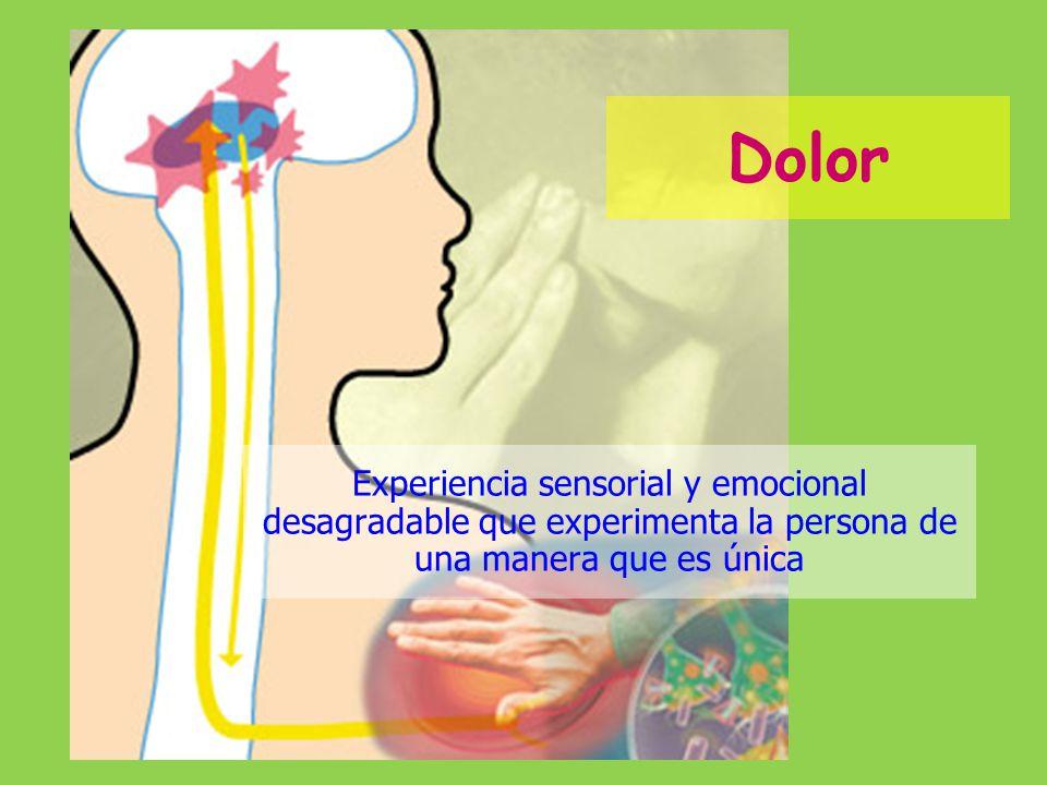 Dolor Experiencia sensorial y emocional desagradable que experimenta la persona de una manera que es única