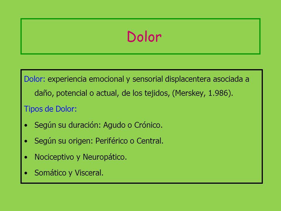 Dolor Dolor: experiencia emocional y sensorial displacentera asociada a daño, potencial o actual, de los tejidos, (Merskey, 1.986). Tipos de Dolor: Se