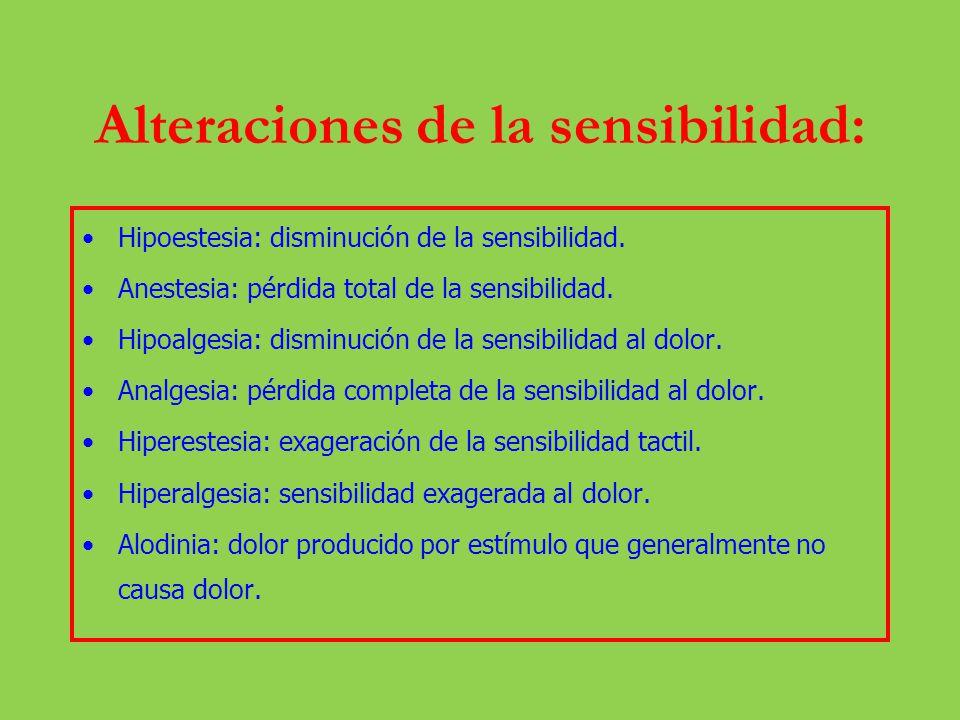 Alteraciones de la sensibilidad: Hipoestesia: disminución de la sensibilidad. Anestesia: pérdida total de la sensibilidad. Hipoalgesia: disminución de