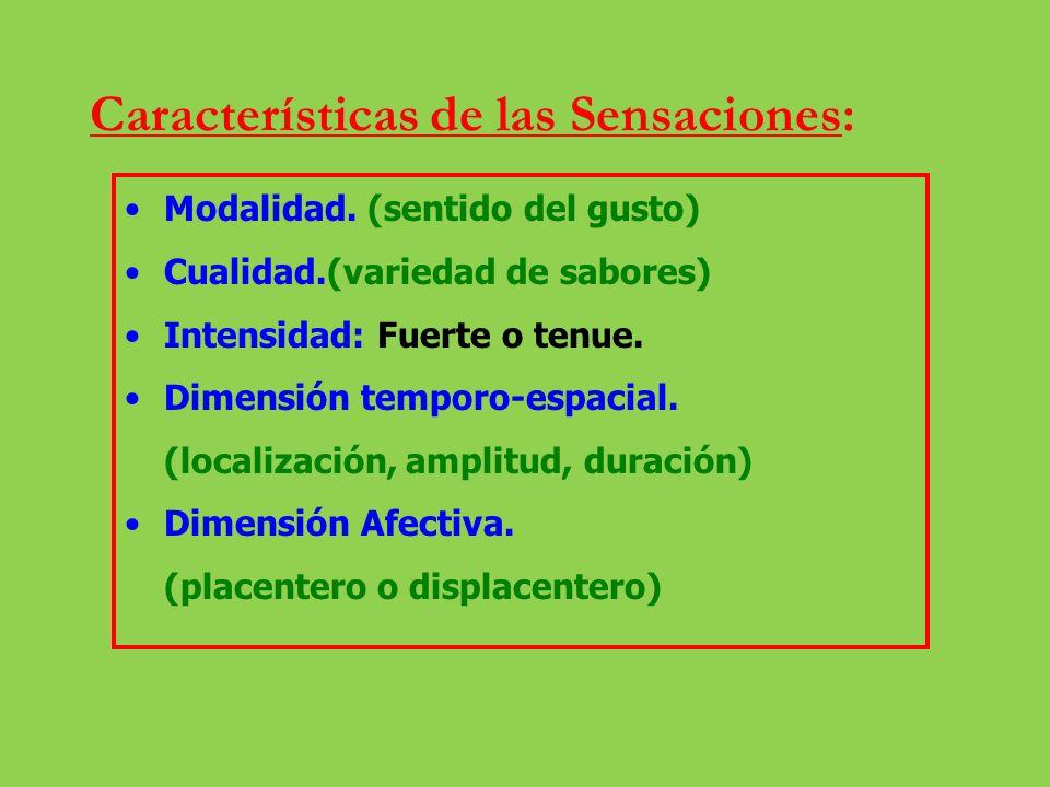 Características de las Sensaciones: Modalidad. (sentido del gusto) Cualidad.(variedad de sabores) Intensidad: Fuerte o tenue. Dimensión temporo-espaci