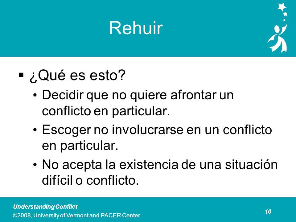 10 Understanding Conflict ©2008, University of Vermont and PACER Center Rehuir ¿Qué es esto.