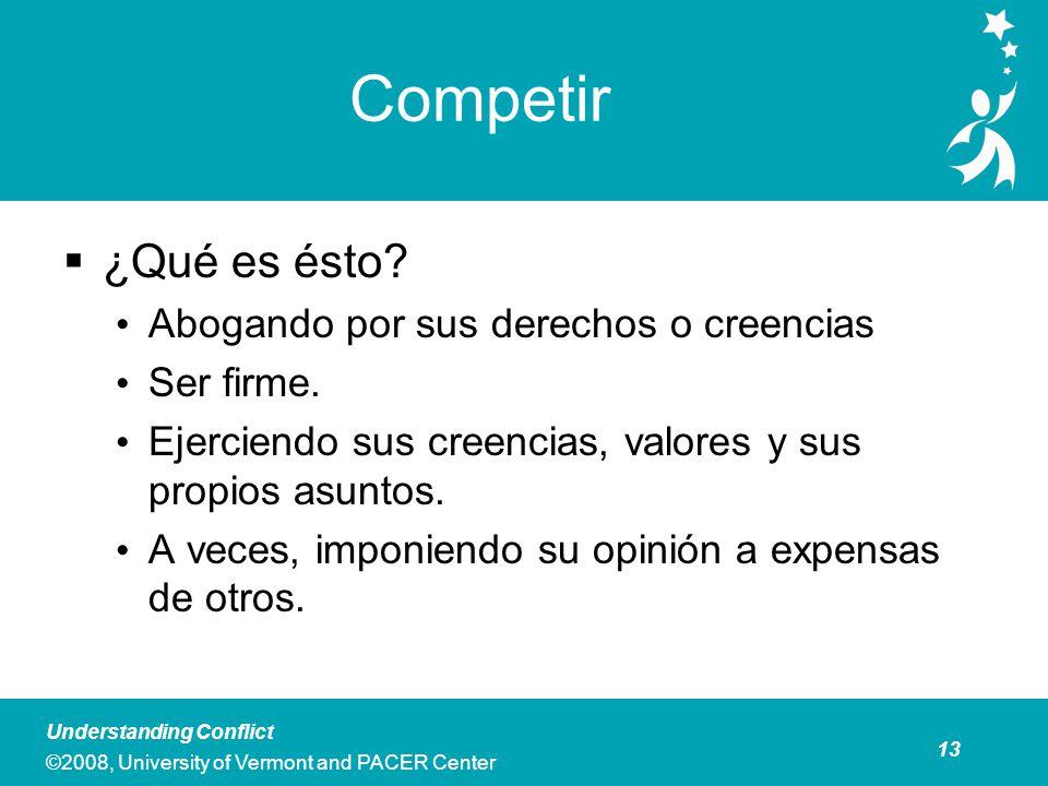 13 Understanding Conflict ©2008, University of Vermont and PACER Center Competir ¿Qué es ésto.