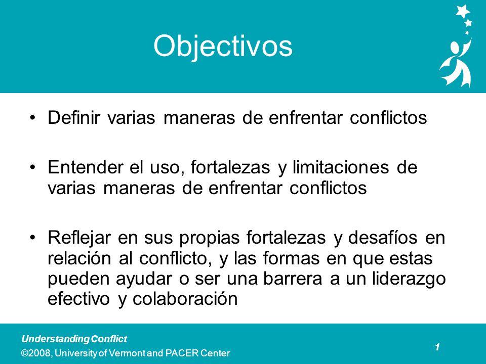 2 Understanding Conflict ©2008, University of Vermont and PACER Center Preguntas Esenciales ¿Cuáles son algunas maneras comunes de enfrentar conflictos, y cuáles son las fortalezas y limitaciones en varias situaciones.