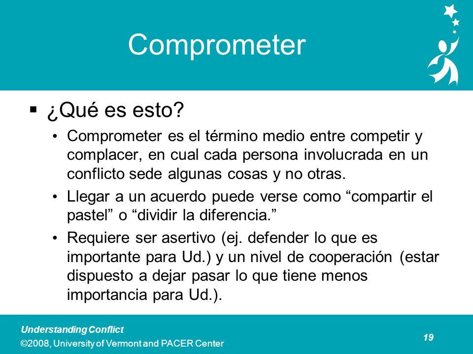 19 Understanding Conflict ©2008, University of Vermont and PACER Center Comprometer ¿Qué es esto.