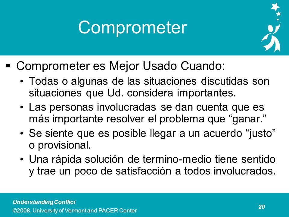 20 Understanding Conflict ©2008, University of Vermont and PACER Center Comprometer Comprometer es Mejor Usado Cuando : Todas o algunas de las situaciones discutidas son situaciones que Ud.