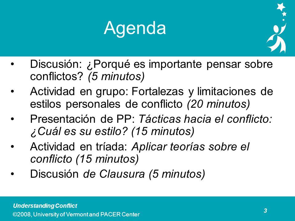 4 Understanding Conflict ©2008, University of Vermont and PACER Center Discusión: Pensando Sobre Conflicto Piense en varios equipos o grupos de los que Ud.