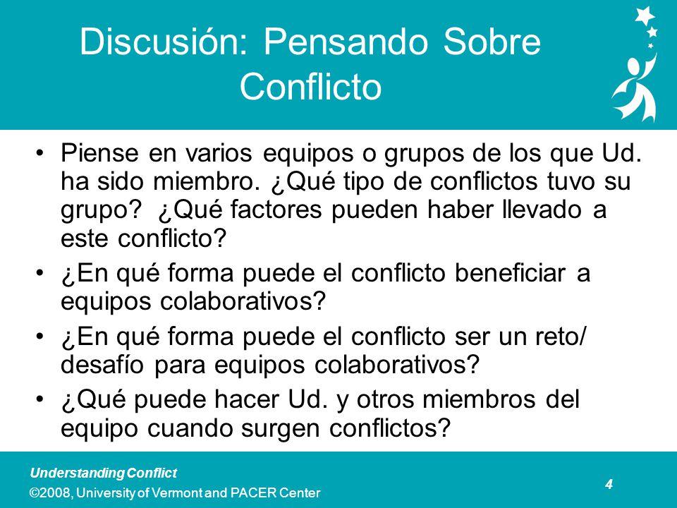 5 Understanding Conflict ©2008, University of Vermont and PACER Center Reseña de los Cinco Estilos de Respuesta al Conflicto Rehuir : No dirige la existencia de conflicto.
